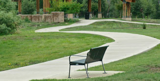 Yamaguchi Park located next to Cobblestone Townhome Community in Pagosa Springs, Colorado. Features great walking and biking paths with benches for relaxation.